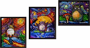 Uhomate 3 pcs My Neighbor Totoro in Rain Hayao Miyazaki Wall Decor Vincent Van Gogh Starry Night Posters Wall Art Baby Gift Wall Decor Bedroom Bathroom Artwork M041 (8X10)