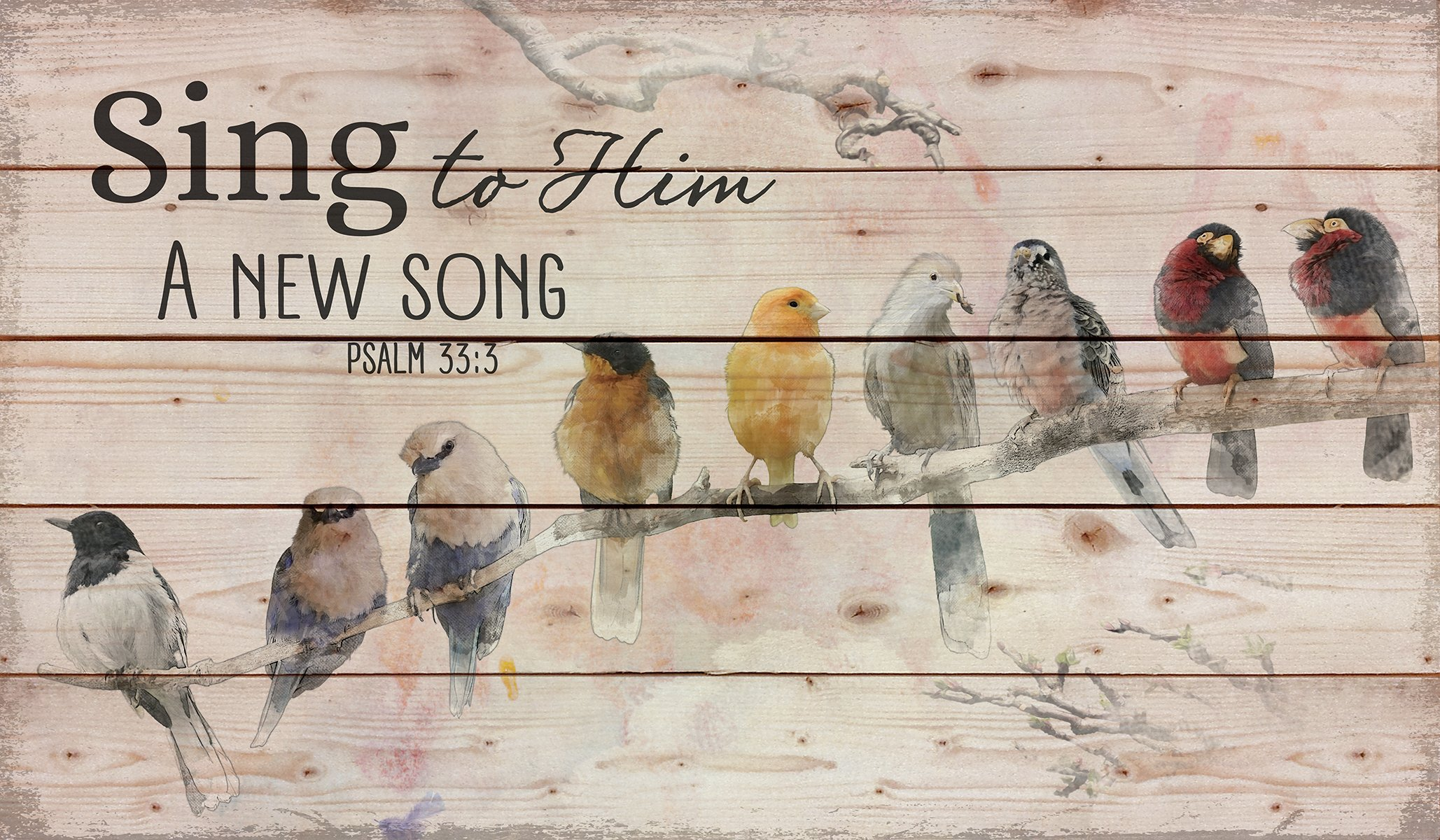 Sing to Him a New Song Perched Birds on a Limb 24 x 14 Wood Pallet Design Wall Art Sign by P. Graham Dunn