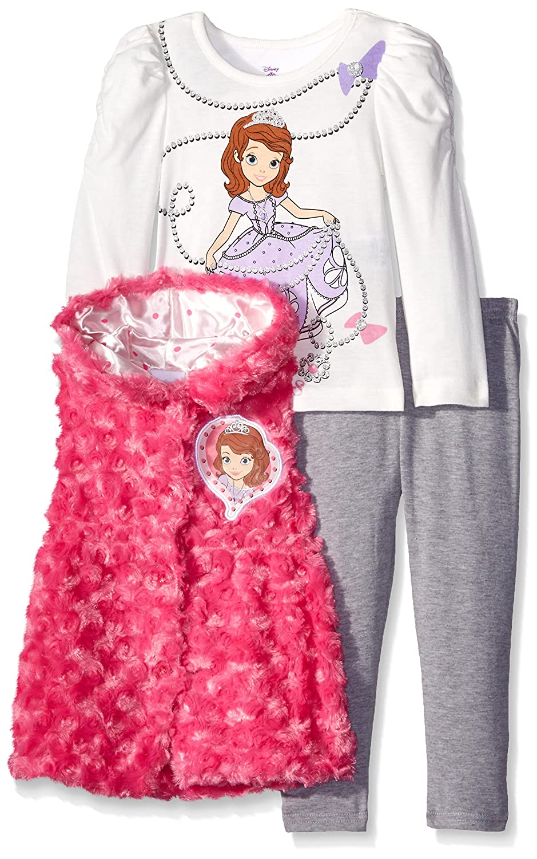 Top Disney Girls Sofia Vest and Legging Three-Piece Set