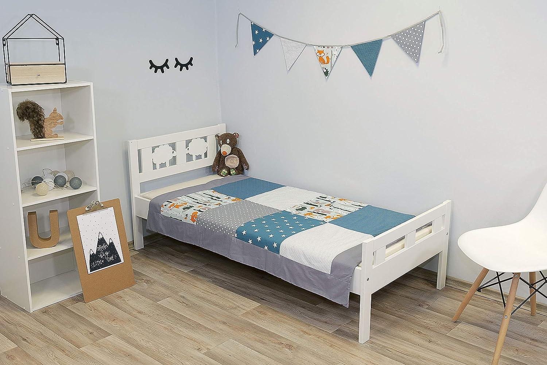 100x140 cm Kuscheldecke oder Tagesdecke ideal als Krabbeldecke Made in EU /Ökotex Blau Hellblau Grau ULLENBOOM /® Baby Patchworkdecke - gepolsterte Babydecke aus Baumwolle Design: Patchwork