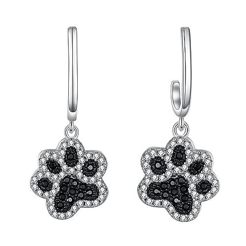 7e6c0b09e Amazon.com: FANZE Women 925 Sterling Silver Cute Zircon Puppy Paws ...