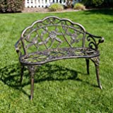 BELLEZE Antique Designed Rose Style Outdoor Patio Park Garden Bench Bronze Love Seat Cast Iron Backyard Porch Home Pool