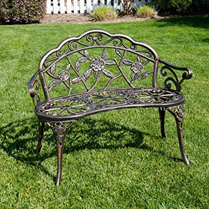 Belleze Antique Designed Rose Style Outdoor Patio Park Garden Bench Bronze  Love Seat Cast Iron Backyard