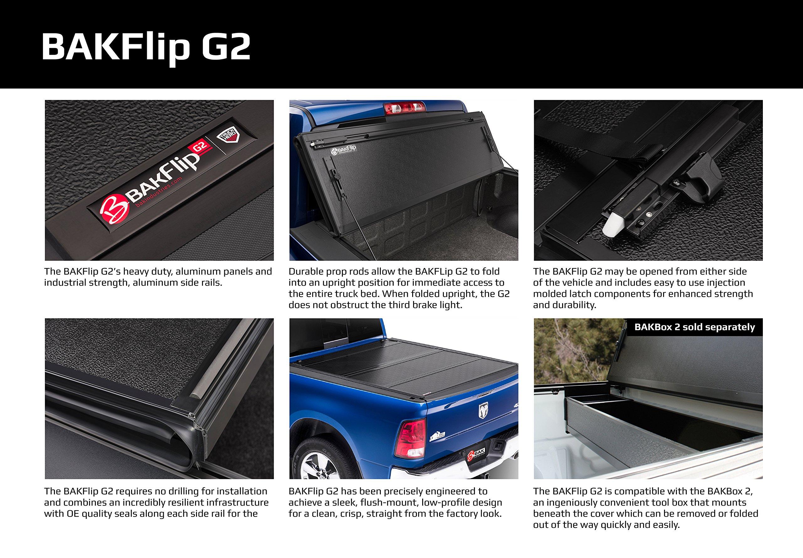 BAK Industries BAKFlip G2 Hard Folding Truck Bed Cover 226120 2014-18 GM Silverado, Sierra     5' 8'' by BAK
