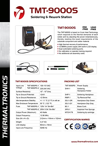 Thermaltronics TMT-9000S-1 Soldering System w SHP-1 100-110VAC interchangeable for Metcal MX-500S-11