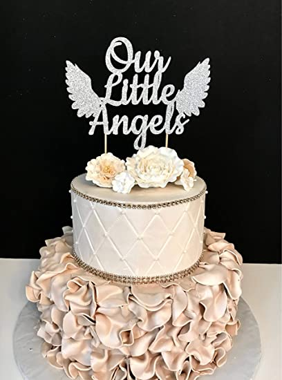 Amazon Com Funlaugh Our Little Angels Twins Twins Baby Shower Cake