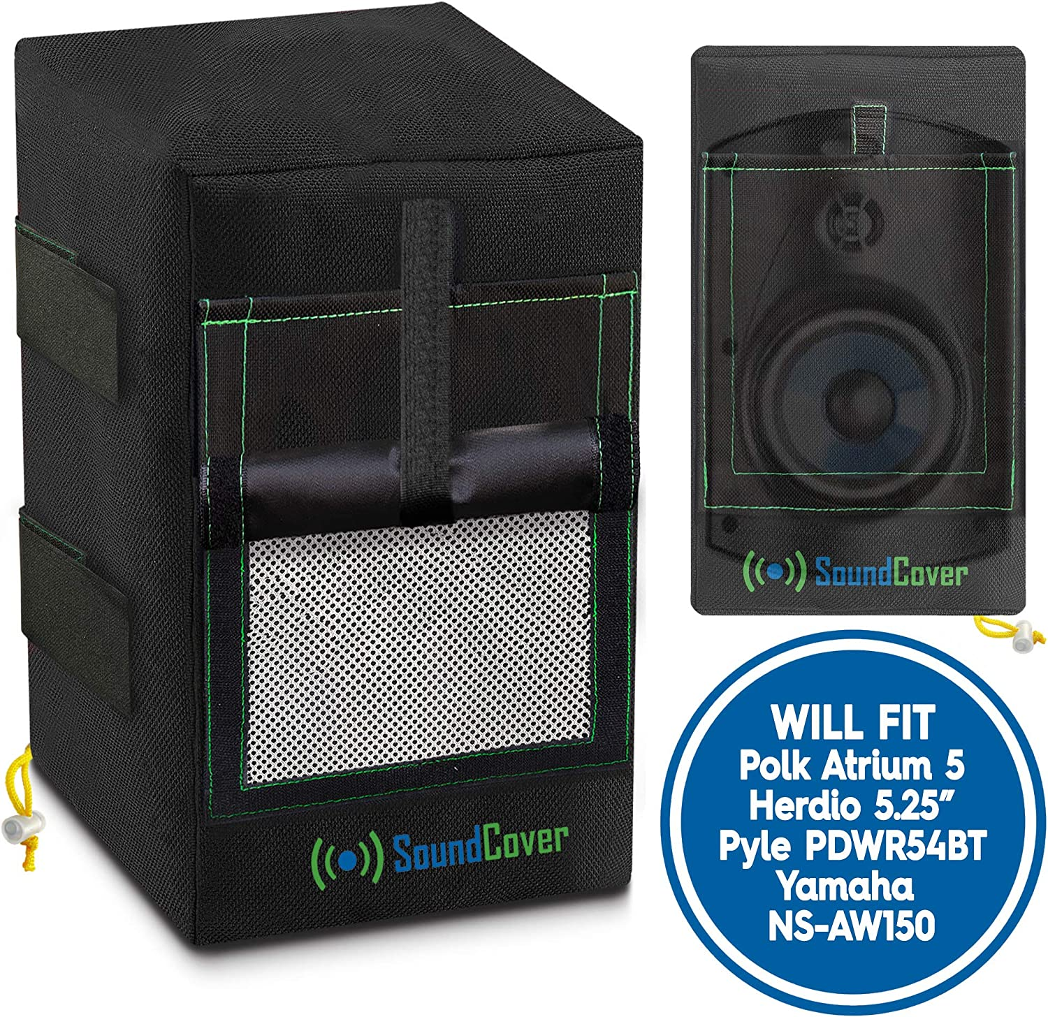"""2 Black Waterproof UV Protection Speaker Covers for Outdoor Speakers with Sound Option fit Yamaha NS-AW150, Polk Audio Atrium 5, Herdio 5.25"""" & Pyle 5.25 Speakers (MAX Size: H 10.4"""" X W 6.7"""" X D 8.3"""")"""