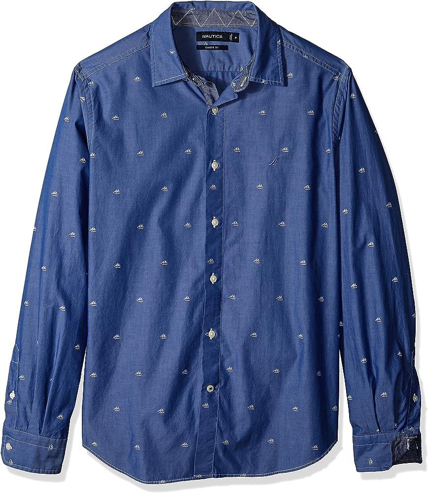Nautica Hombre Manga Larga Camisa de botones - Azul - Small: Amazon.es: Ropa y accesorios