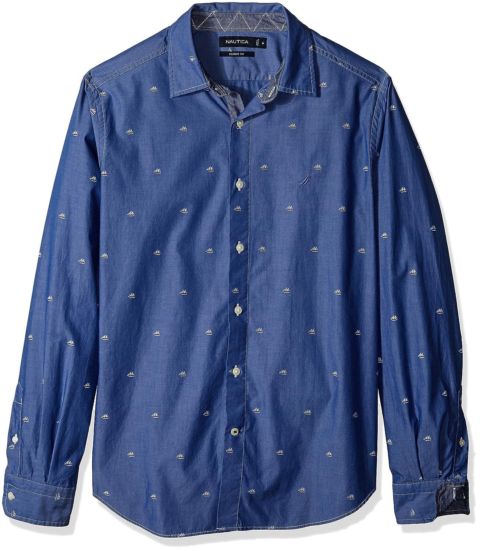 Nautica Mens Classic Fit Long Sleeve Print Pattern Button Down Shirt
