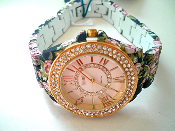 Sami RSM-77941-2 Reloj de Pulsera de Mujer Corona Cristal Correa Azul Flowers Print ...: Amazon.es: Relojes