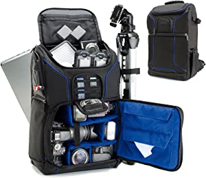 USA GEAR DSLR Camera Backpack Case (Blue) - 15.6 inch Laptop Compartment, Padded Custom Dividers, Tripod Holder, Rain Cover, Long-Lasting Durability and Storage Pockets - Compatible with Many DSLRs