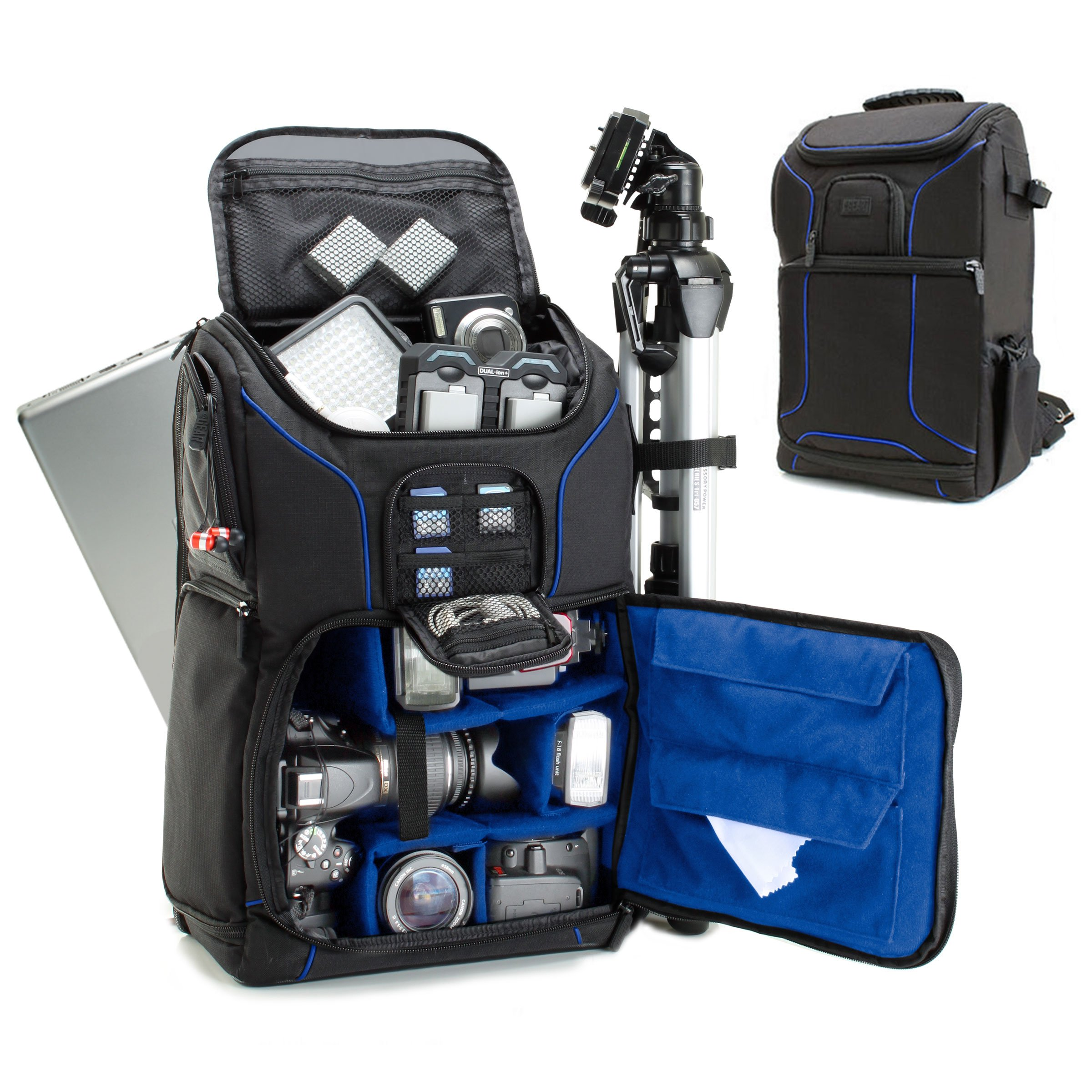 Digital SLR Camera Backpack with 15.6'' Laptop Compartment (Blue) by USA Gear Features Padded Custom Dividers, Tripod Holder, Rain Cover and Storage for DSLR Cameras by Nikon, Canon, Sony & More