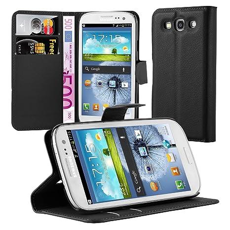 Cadorabo Funda Libro para Samsung Galaxy S3 / S3 Neo en Negro Fantasma – Cubierta Proteccíon con Cierre Magnético, Tarjetero y Función de Suporte – ...