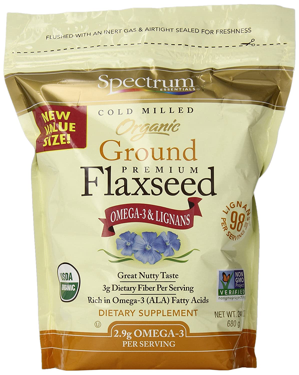 Bulk flax seed for crafts - Spectrum Essentials Organic Ground Flaxseed 24 Ounce
