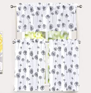 DriftAway Dandelion Floral Botanical Pattern Semi Sheer 3 Pieces Rod Pocket Kitchen Window Curtain Set with 2 Tiers 26 Inch by 36 Inch and 1 Valance 52 Inch by 18 Inch Gray