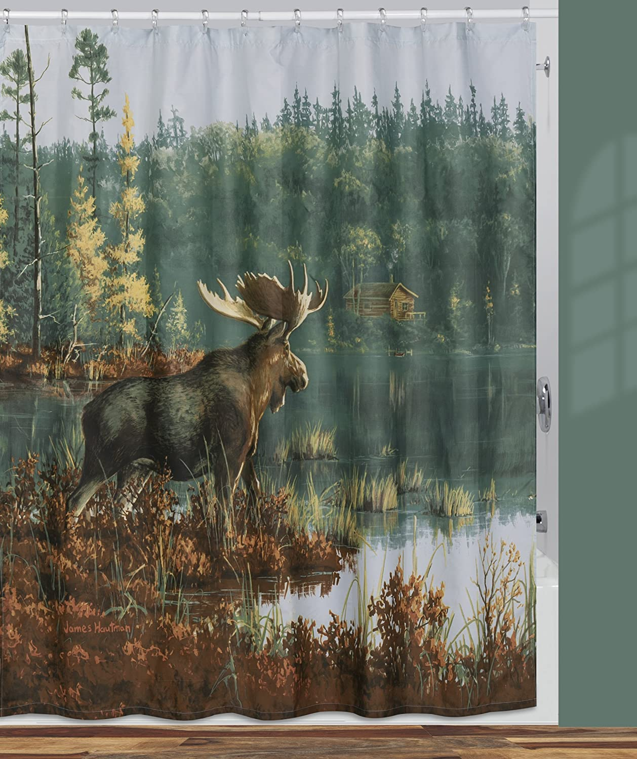Creative Bath Products Back Bay Moose Shower Curtain, 72 x 72 72 x 72 S1208MULT