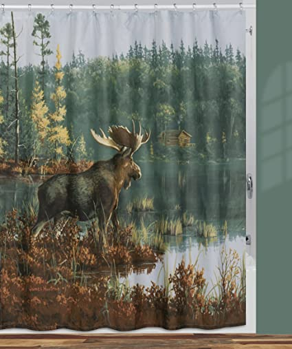Amazon Creative Bath Products Back Bay Moose Shower Curtain 72
