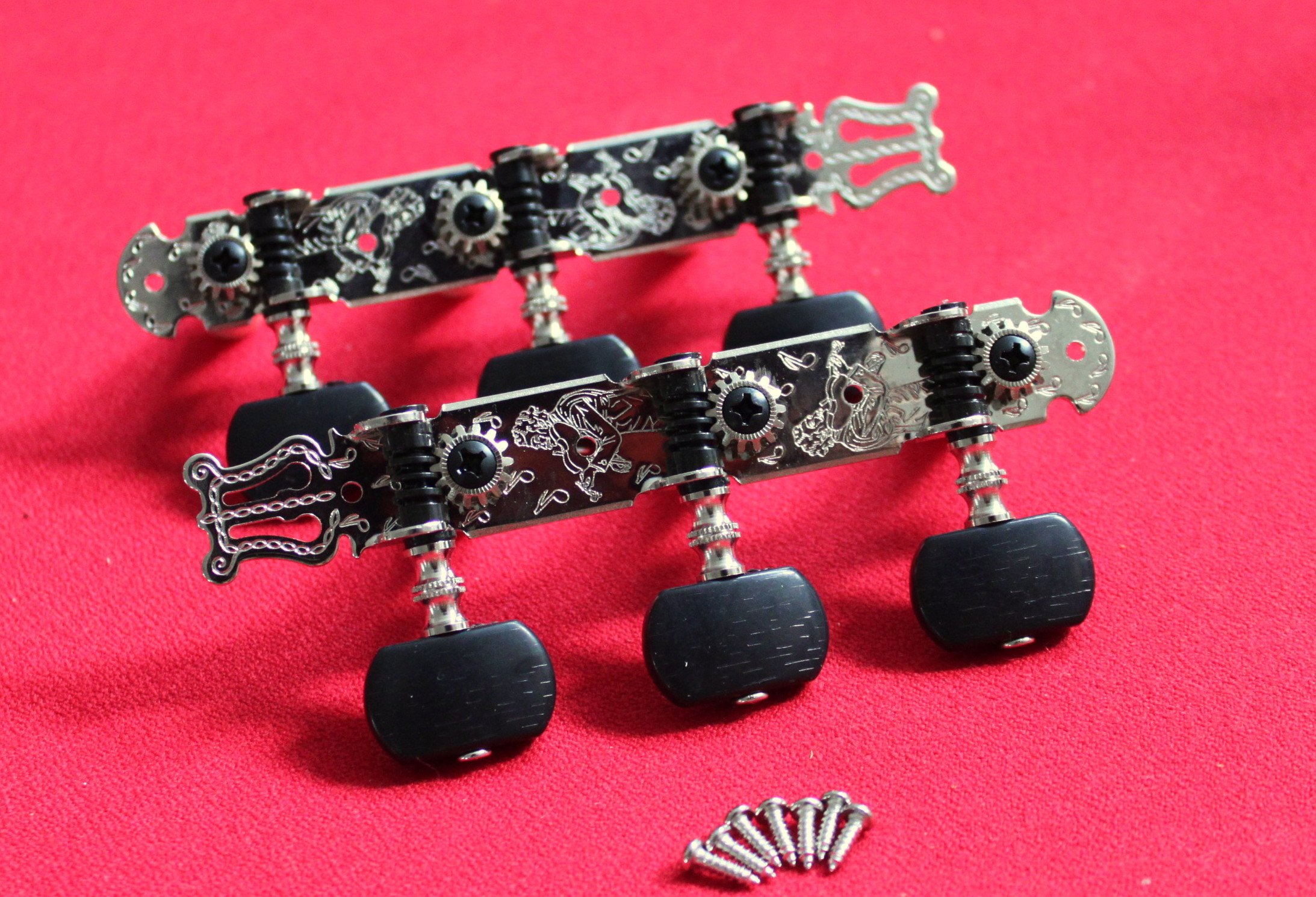 1 Set Classical Guitar Tuners Machine Headst Silve side plates & Black pegs