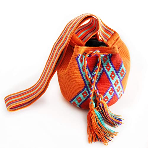 Amazon.com: Wayuu Shoulder Handbag with Poms Cotton Handmade Fair Trade (Mochila Wayuu from Colombia): Handmade