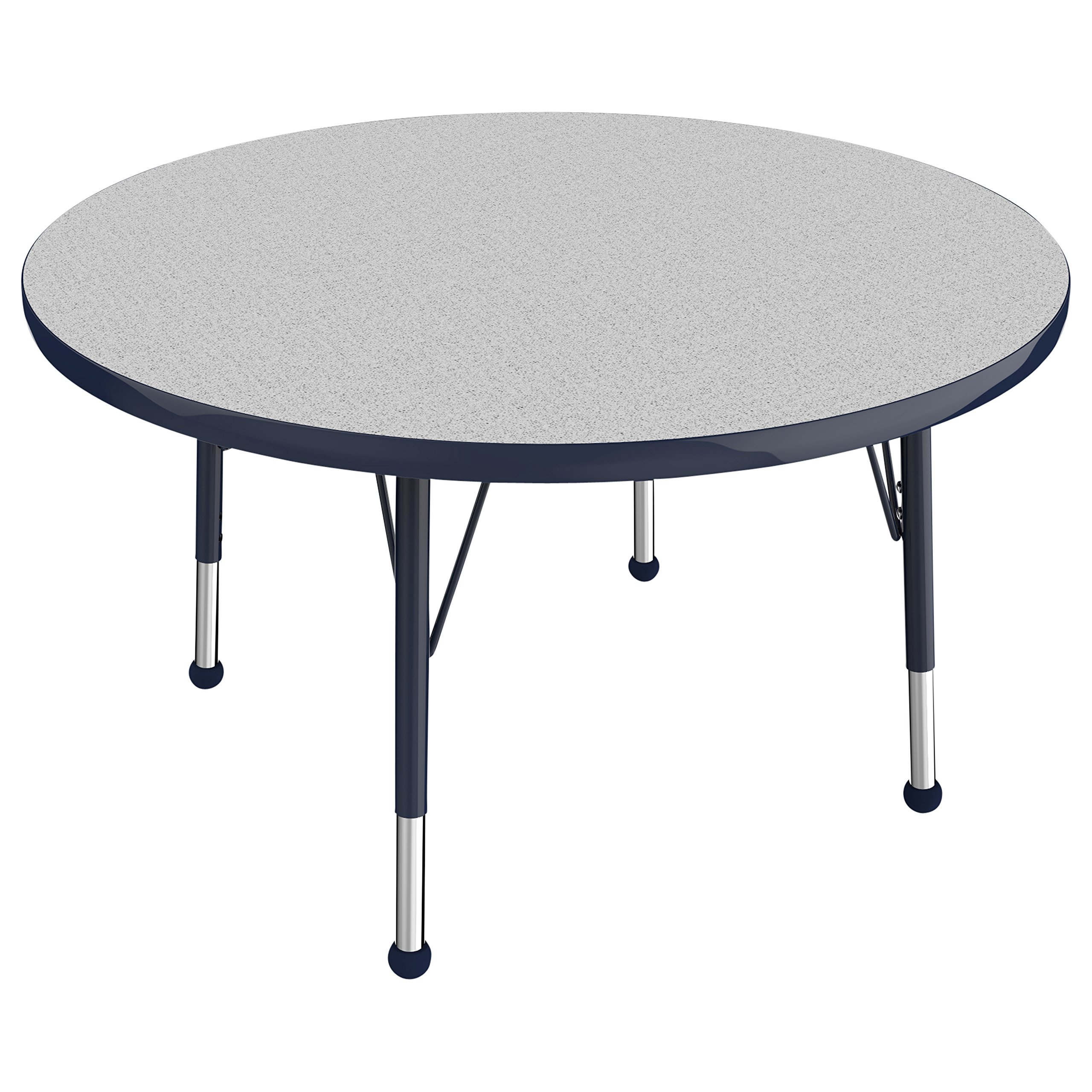ECR4Kids T-Mold 36'' Round Activity School Table, Toddler Legs w/ Ball Glides, Adjustable Height 15-23 inch (Grey/Navy)