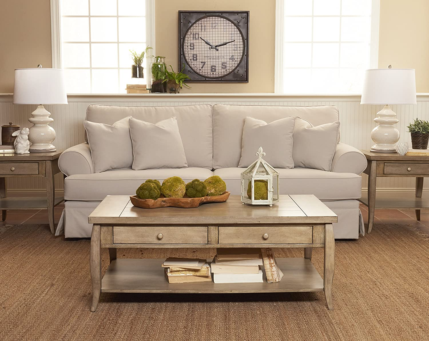 """Klaussner Furniture Westlyn Sofa with Throw Pillows, 8"""", Sand"""