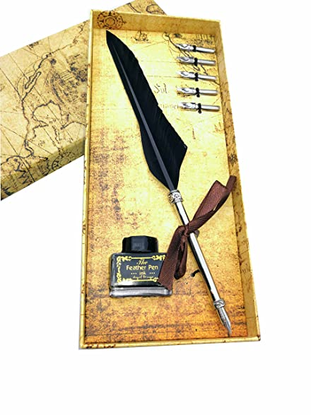 Ink For Quill Pens French Quill Feather And Ink Set Gift Boxed 9780765598677