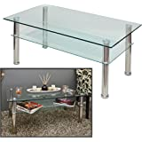 Table 110 x 60 CM Glass Living Room Side Table Made of Stainless Steel with 10 MM Single-Panel safety glass