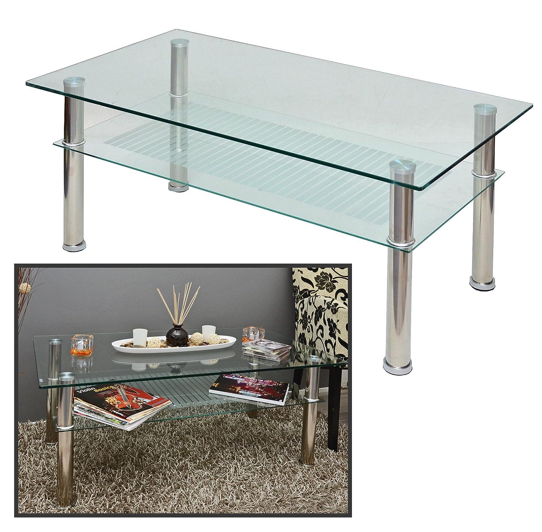 Amazonde Glastisch 110 X 60 Cm Wohnzimmertisch Couchtisch Aus Edelstahl Mit 10 Mm ESG