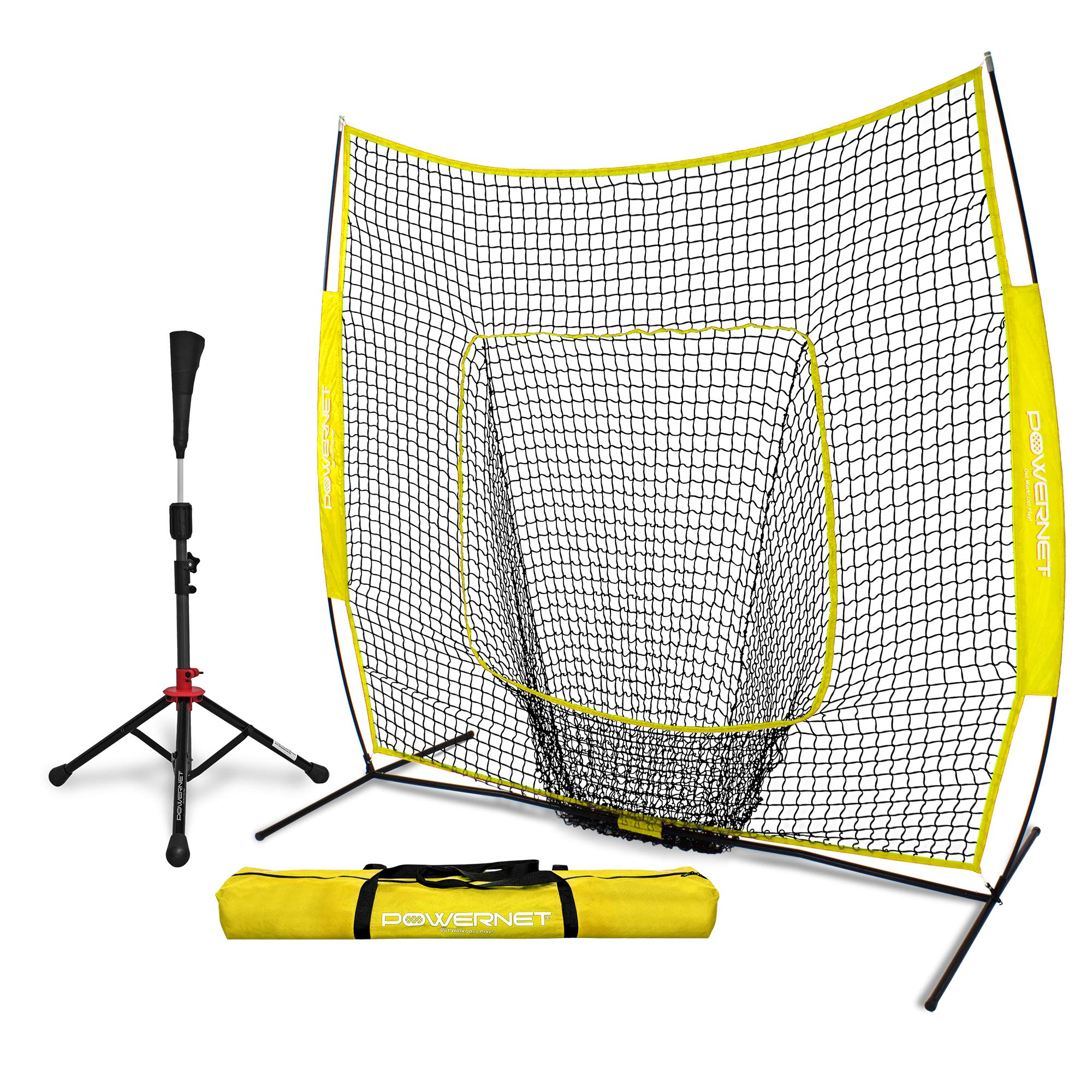 PowerNet Baseball Softball Practice Net 7x7 with Deluxe Tee (Yellow) | Practice Hitting, Pitching, Batting, Fielding | Portable, Backstop, Training Aid, Bow Frame | Training Equipment Bundle by PowerNet