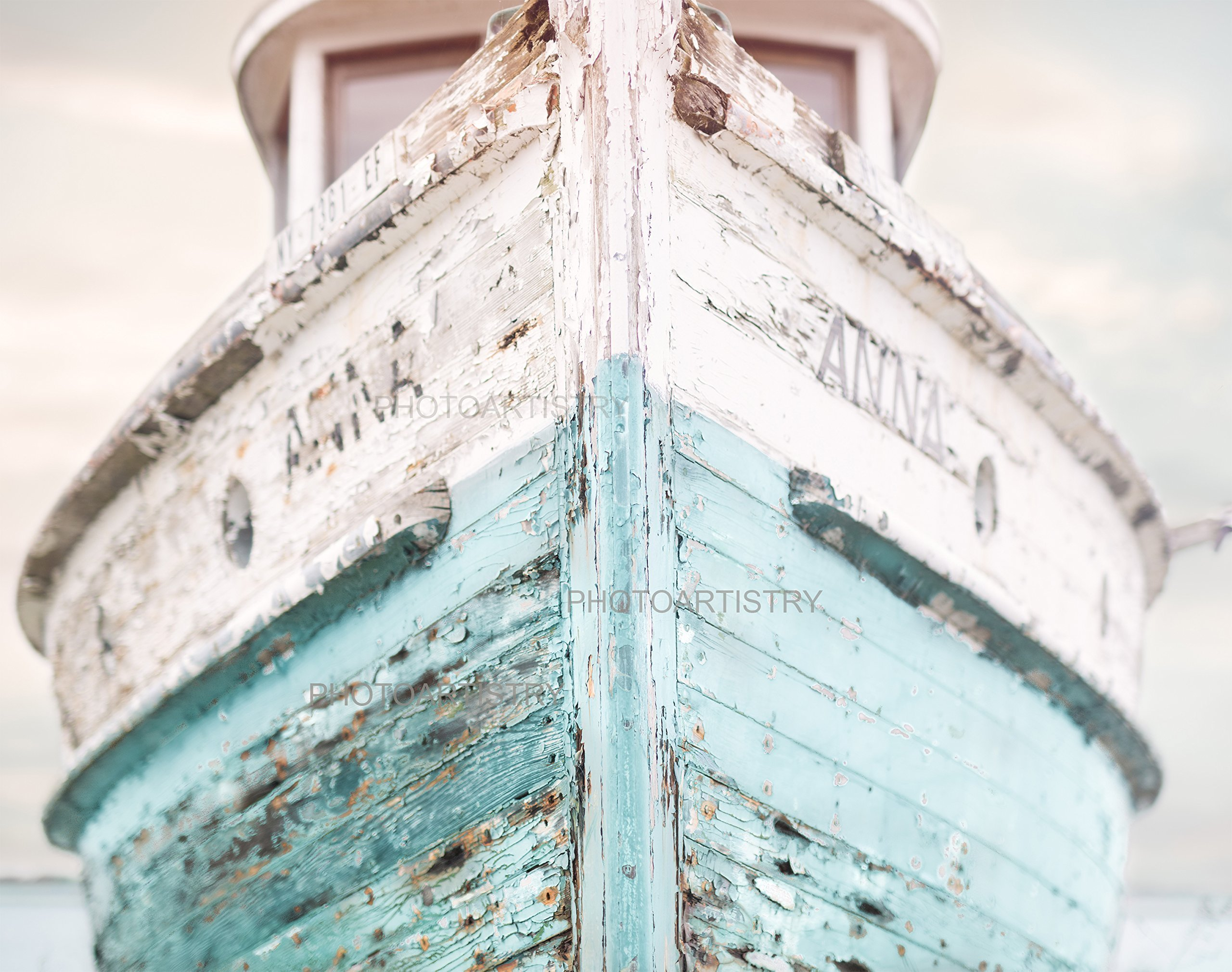 Nautical Ship 11x14 Fine Art Print, Nautical Decor - Aqua, Blue and White colors - vintage by Photo Artistry
