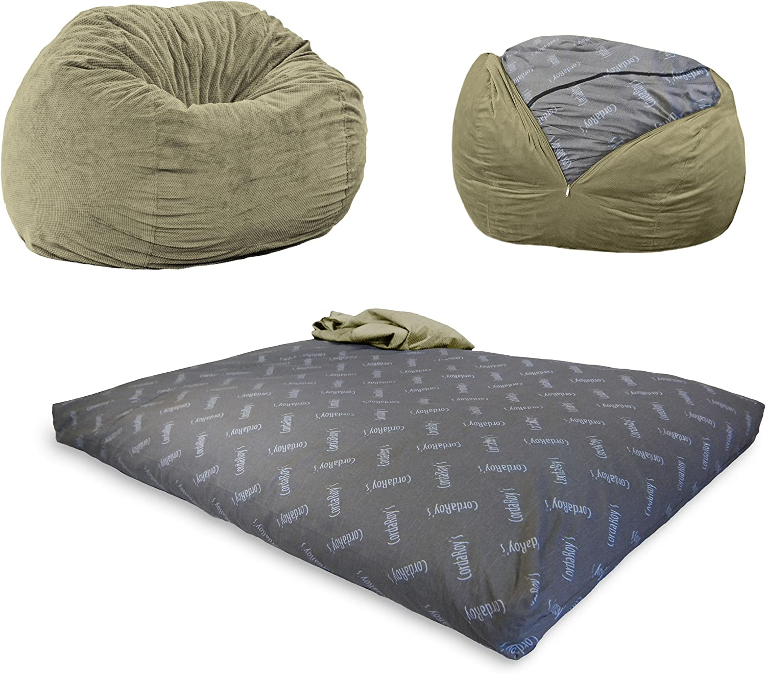 Corduroy Convertible Chair Folds from Bean Bag to Bed As Seen on Shark Tank CordaRoys Bean Bag Chair Full Size Purple