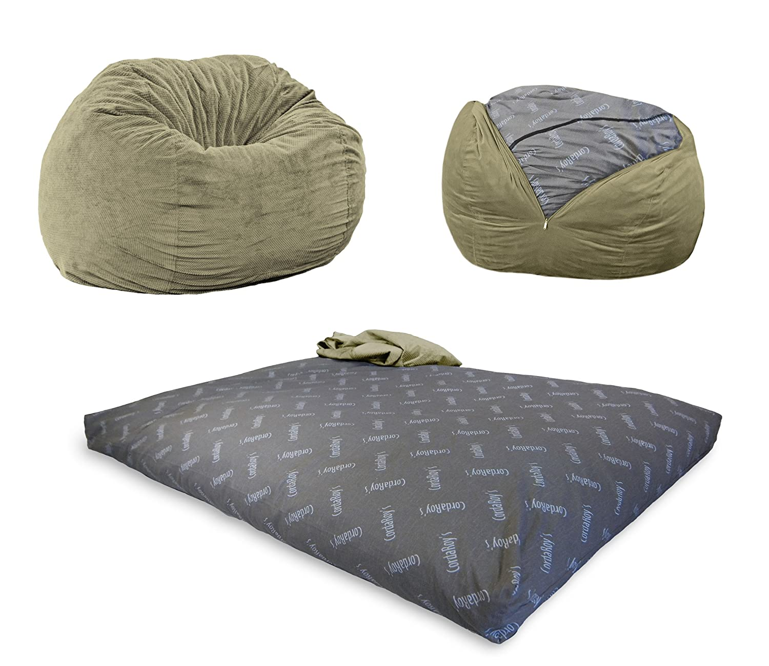 CordaRoy's Chenille Bean Bag Chair, Convertible Chair Folds from Bean Bag to Bed, As Seen on Shark Tank - Moss, Full Size