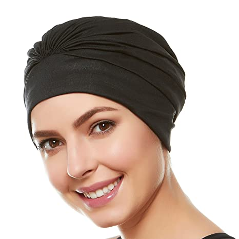 HoldEm Beemo Womens Swim Bathing Cap Turban – Polyester Latex Lined Pleated for Women