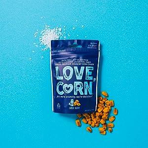 SEA SALT LOVE CORN - 1.6oz (10 BAGS) Crunchy Corn, Delicious, Gluten-Free, Vegan, Non-GMO