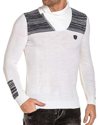 61d61b984d4de BLZ jeans - Pull homme blanc et gris chiné col châle zippé - couleur  Blanc