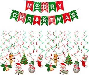 Christmas Decorations Set Includes 24 Ct Cute Christmas Hanging Swirl Decoration and 1 Pack Merry Christmas Banner Christmas Decor for Homes, Stores, and Schools etc.