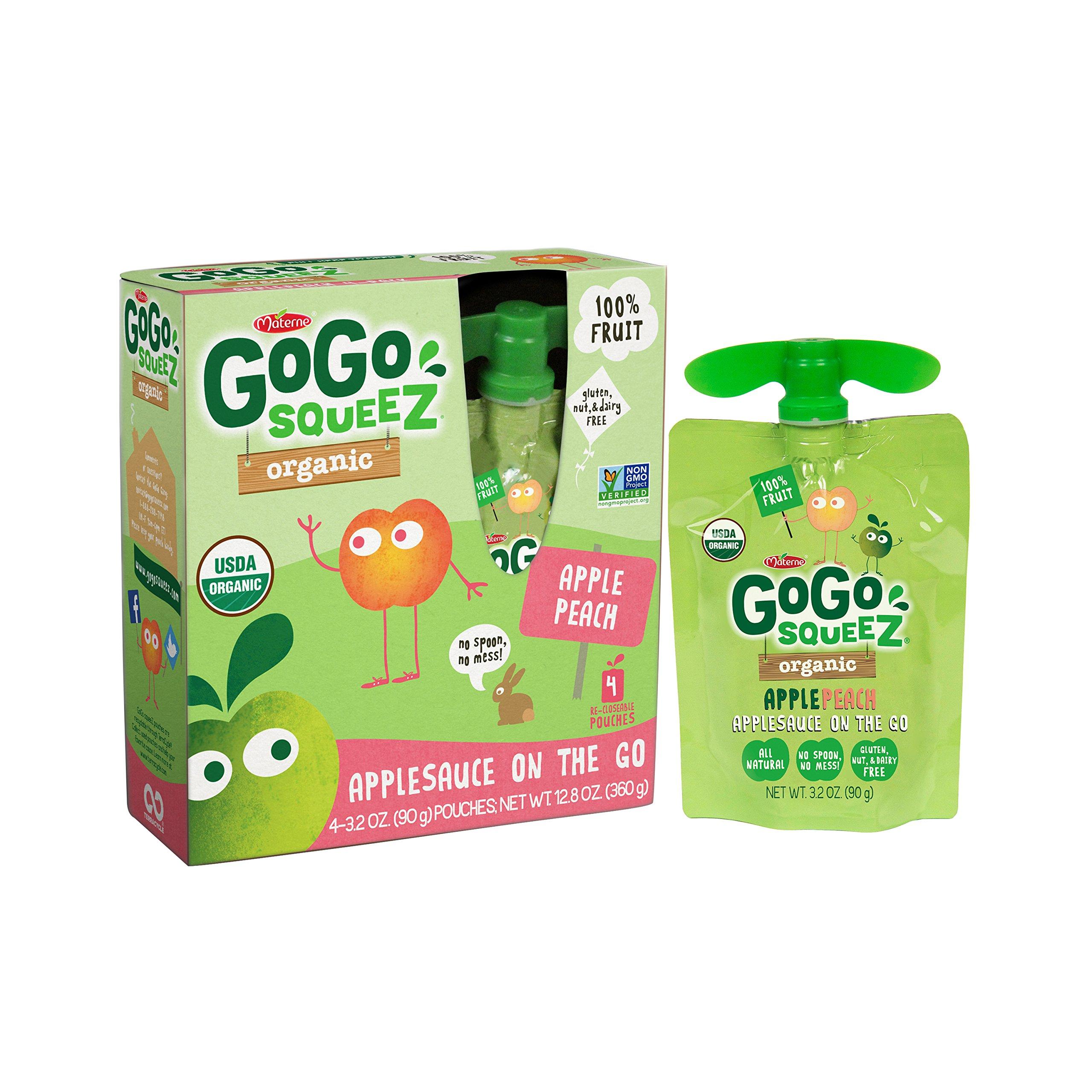 GoGo squeeZ Organic Applesauce on the Go, Apple Peach 3.2-Ounce Portable BPA-Free Pouches, 4 Pouches