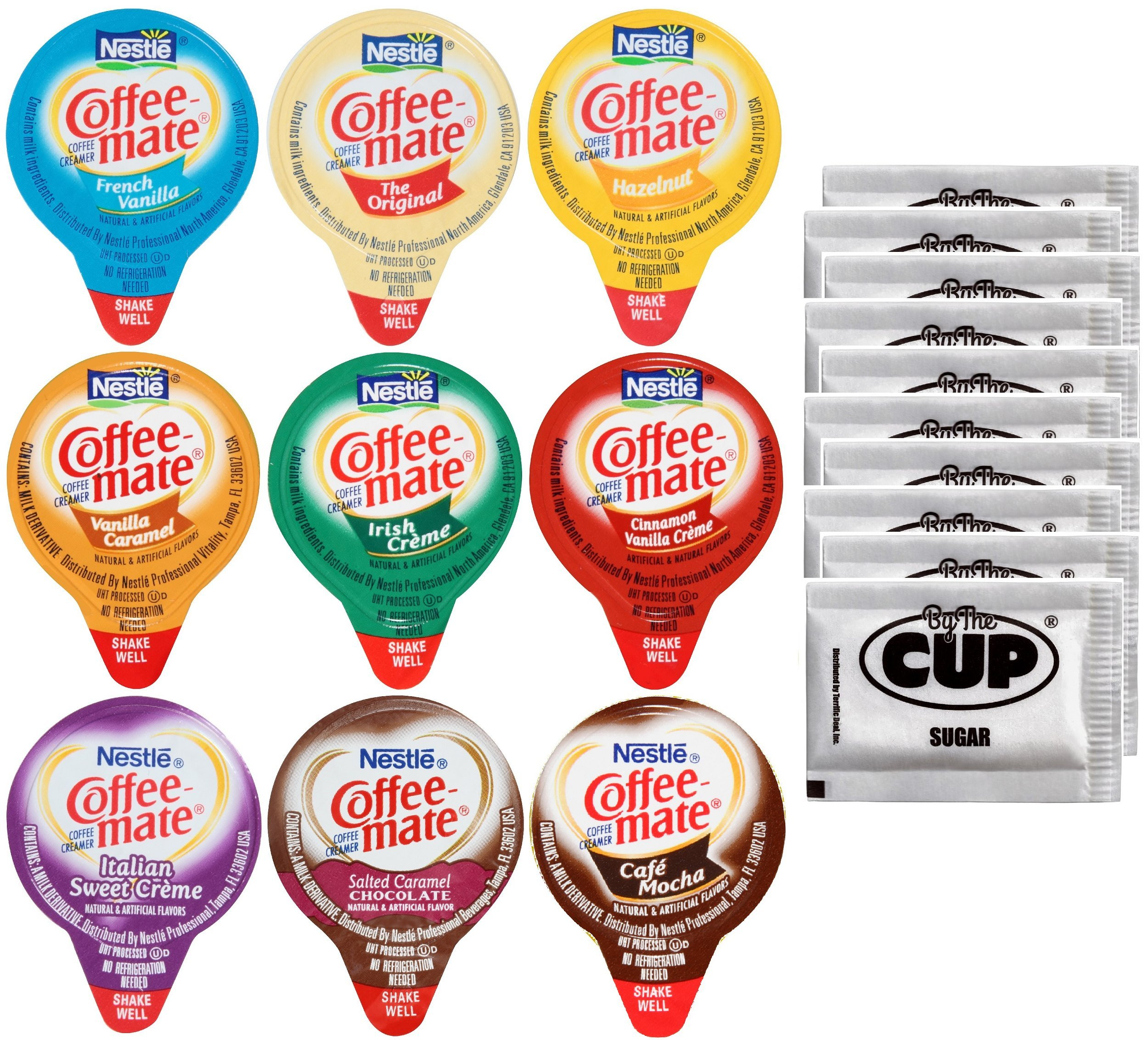 Coffee Mate .375oz Non-Dairy Liquid Creamer Singles - 9 Flavor Assortment, Hazelnut, French Vanilla, Original, Cafe Mocha, Salted Caramel (36 Pack) - Exclusive By The Cup Sugar Packets by By The Cup