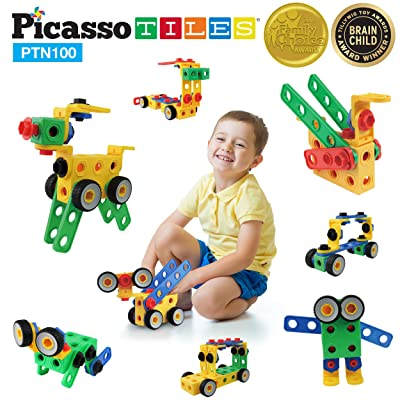 PicassoTiles Learning S.T.E.A.M. Engineering Toy Kit 100 Piece Building Block 3D Construction Stacking Set 100pc Educational Blocks w/Idea Book Included, Anchors, Motor Wheel, and Storage Box PTN100: Toys & Games