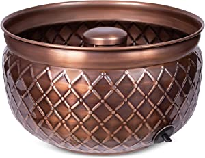 BIRDROCK HOME Water Hose Holder - Copper - Drainage Hole - Ground Garden Hose Pot - Decorative - Handle - Embossed - Steel Metal with Copper Accents - Outdoor or Indoor Use