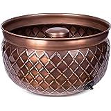 BirdRock Home Water Hose Holder - Copper - Drainage Hole - Ground Garden Hose Pot - Decorative - Handle - Embossed - Steel Me