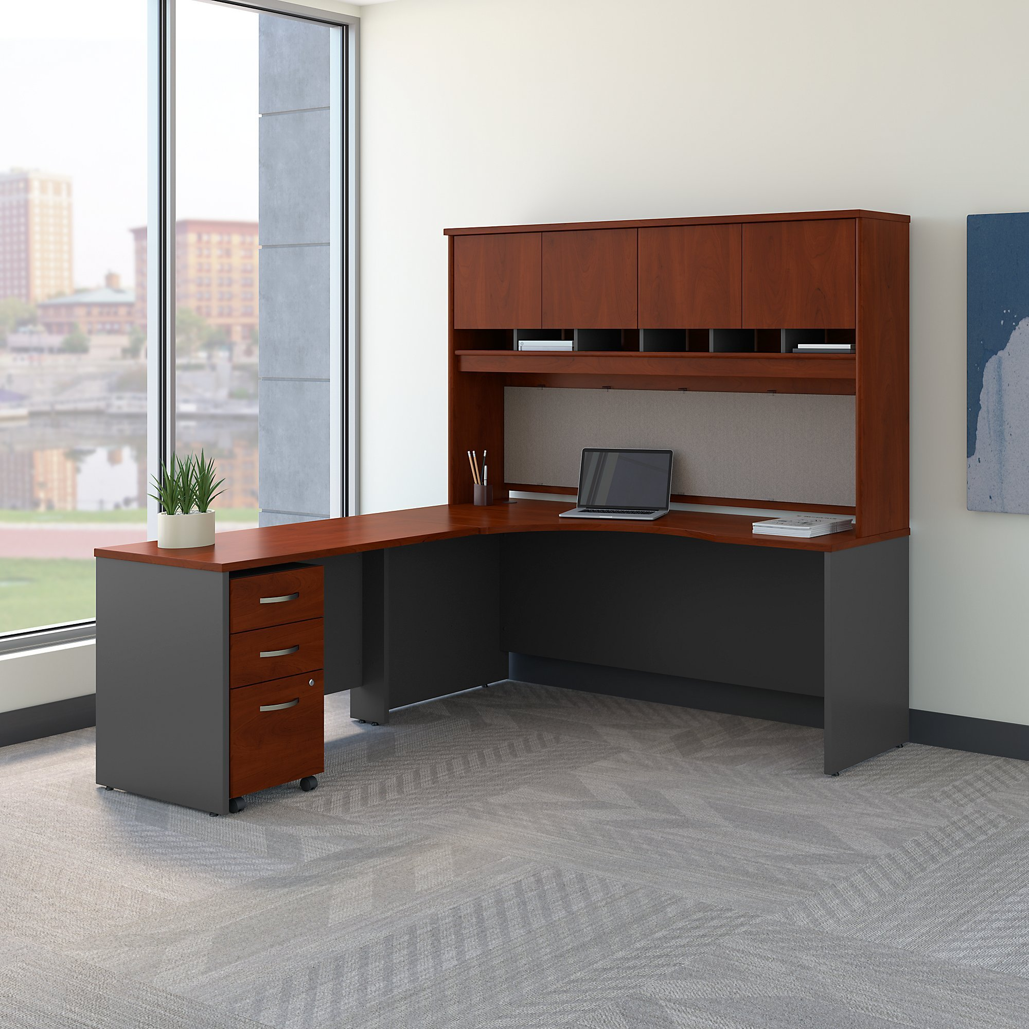 Bush Business Furniture Series C 72W Left Handed Corner Desk with Hutch and Mobile File Cabinet in Hansen Cherry by Bush Business Furniture