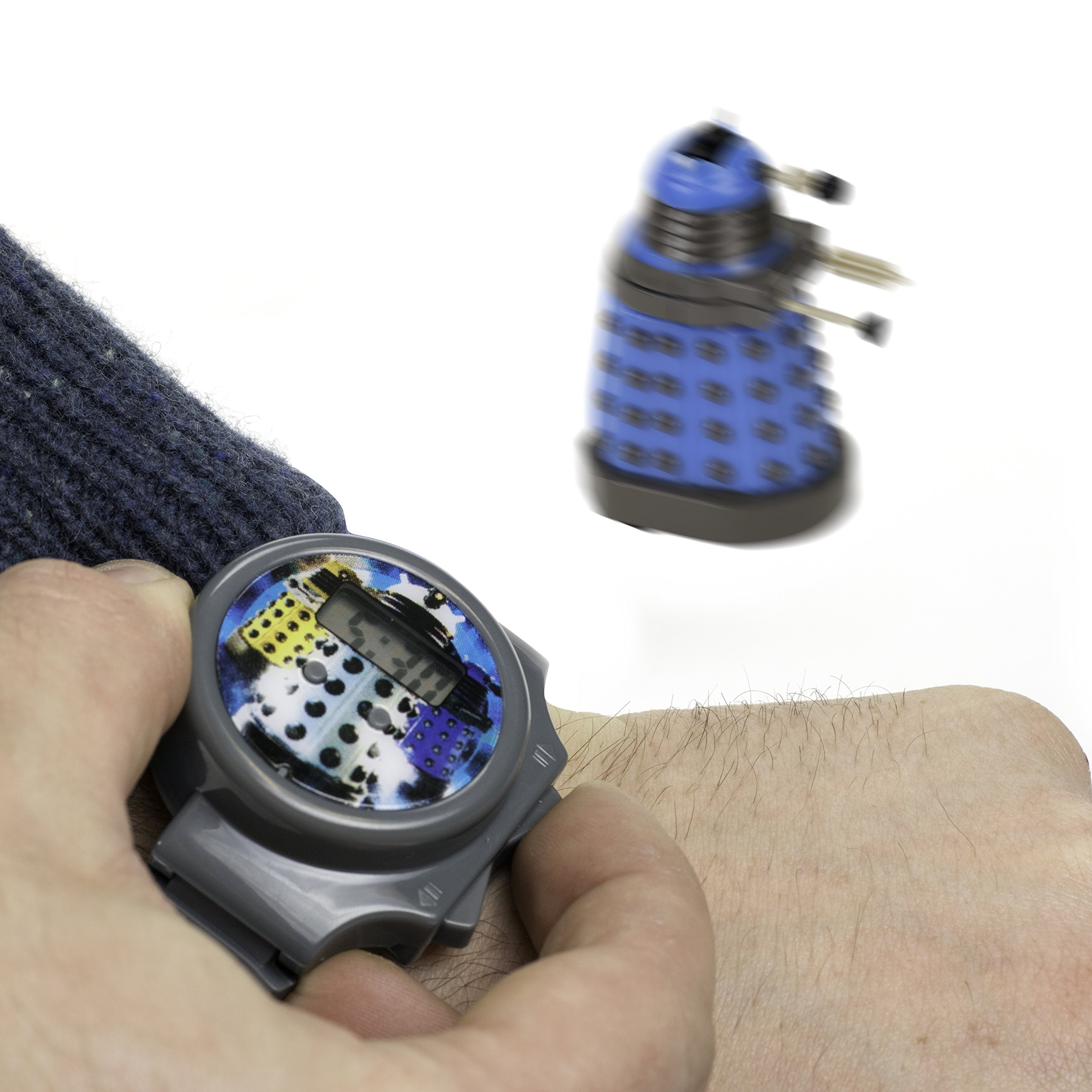 Doctor Who Digital Watch - Dalek Whizz Watch With Mini Remote Controlled Figure and Keychain