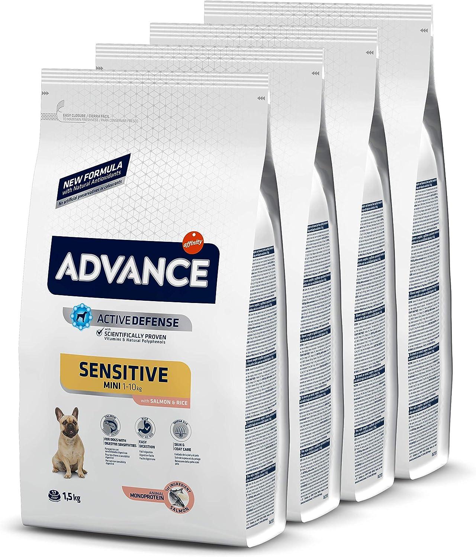 ADVANCE Sensitive Mini - Pienso para Perros de Razas Pequeñas con Sensibilidades Digestivas con Salmón y Arroz - Pack de 1,5kg X 4 -Total 6kg