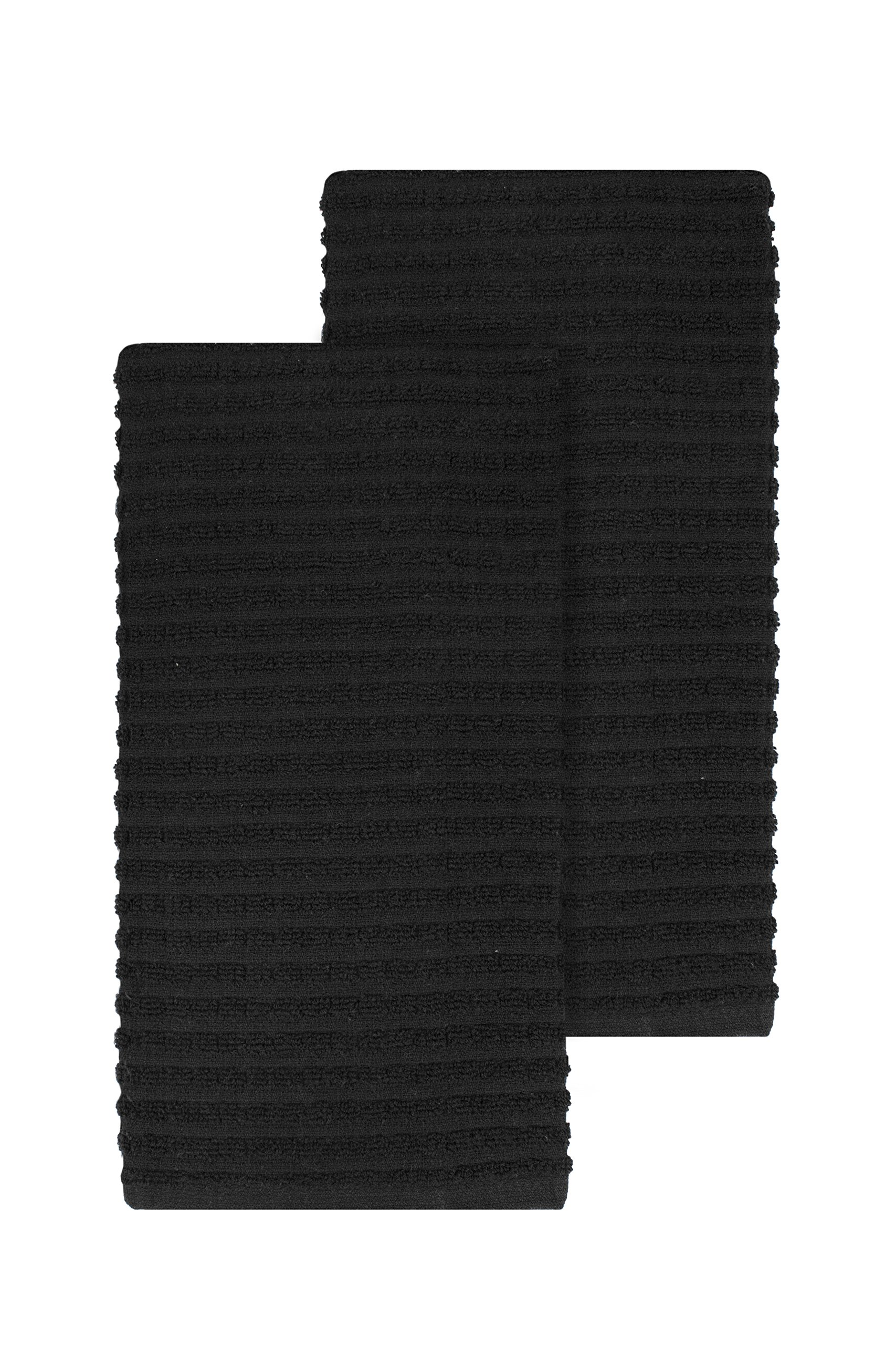 Ritz Royale Collection 100% Combed Terry Cotton, Highly Absorbent, Oversized, Kitchen Towel Set, 28'' x 18'', 2-Pack, Solid Black
