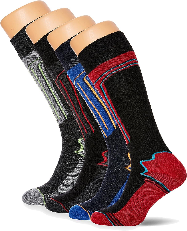 FM London Thermal Ski Socks Multipack Calcetines altos, Multicolor (Assorted), Talla única (Pack de 4) para Hombre