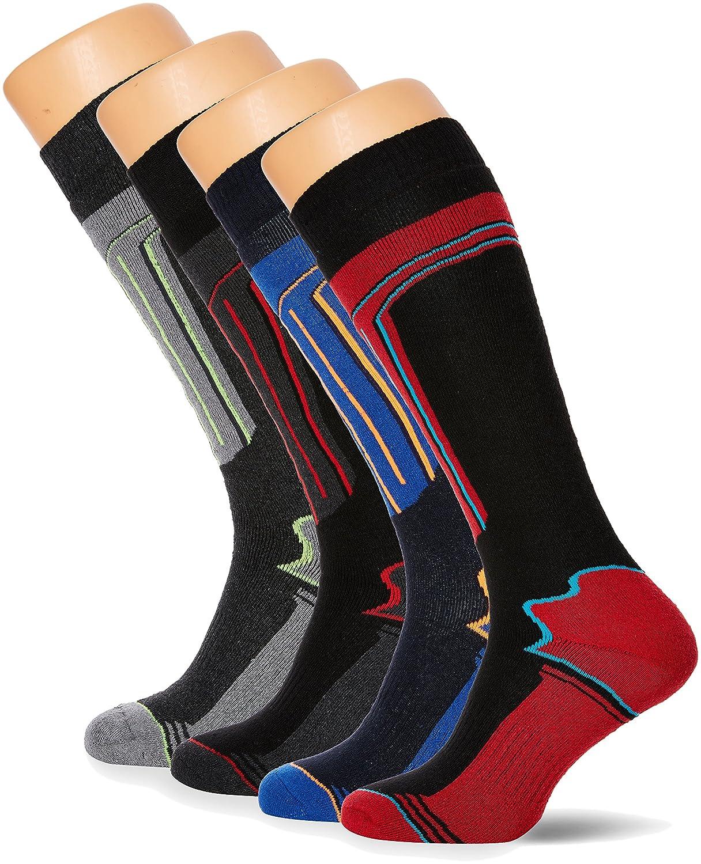 FM London Thermal Ski Socks Multipack, Calze al Ginocchio Uomo, Multicolore (Assorted), Unica (Taglia Produttore: 6-11 UK)(Pacco da 4) 4-Pack Ski