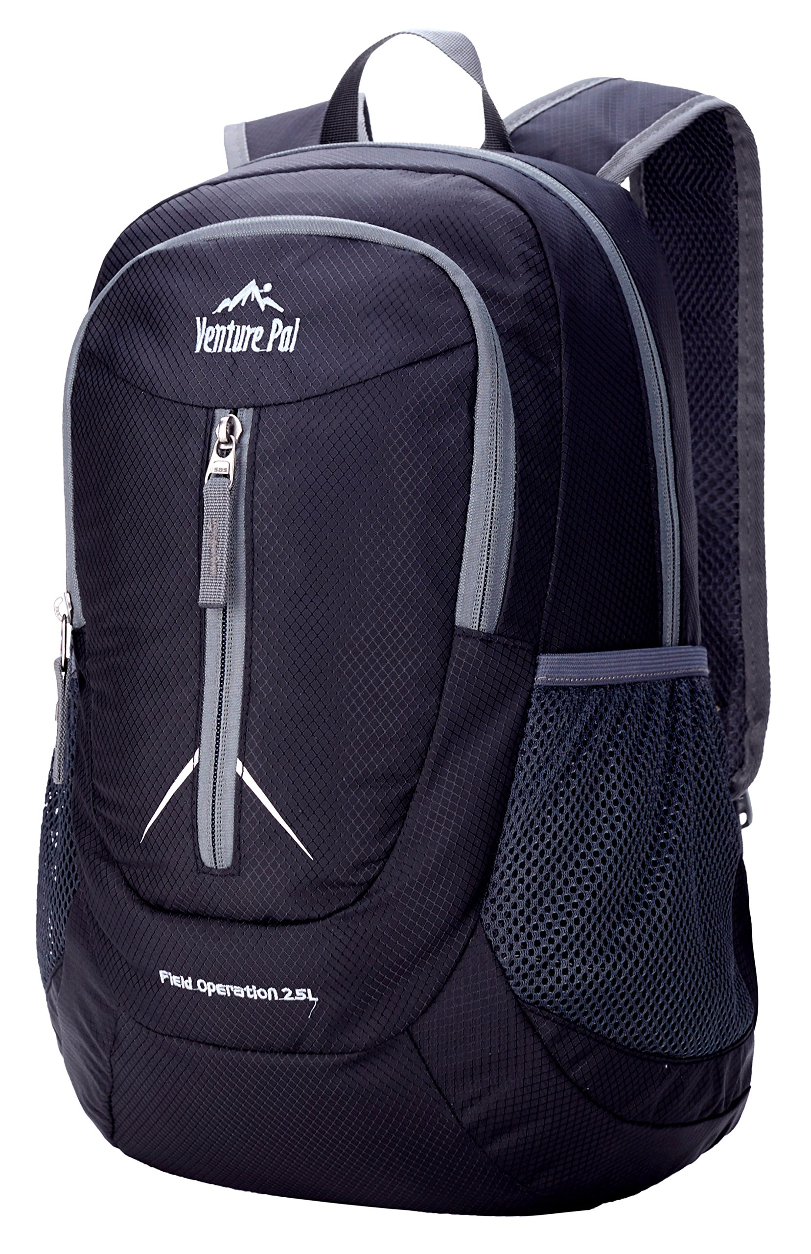 Venture Pal 25L - Durable Packable Lightweight Travel Hiking Backpack Daypack Small Bag for Men Women Kids (Black) by Venture Pal (Image #3)