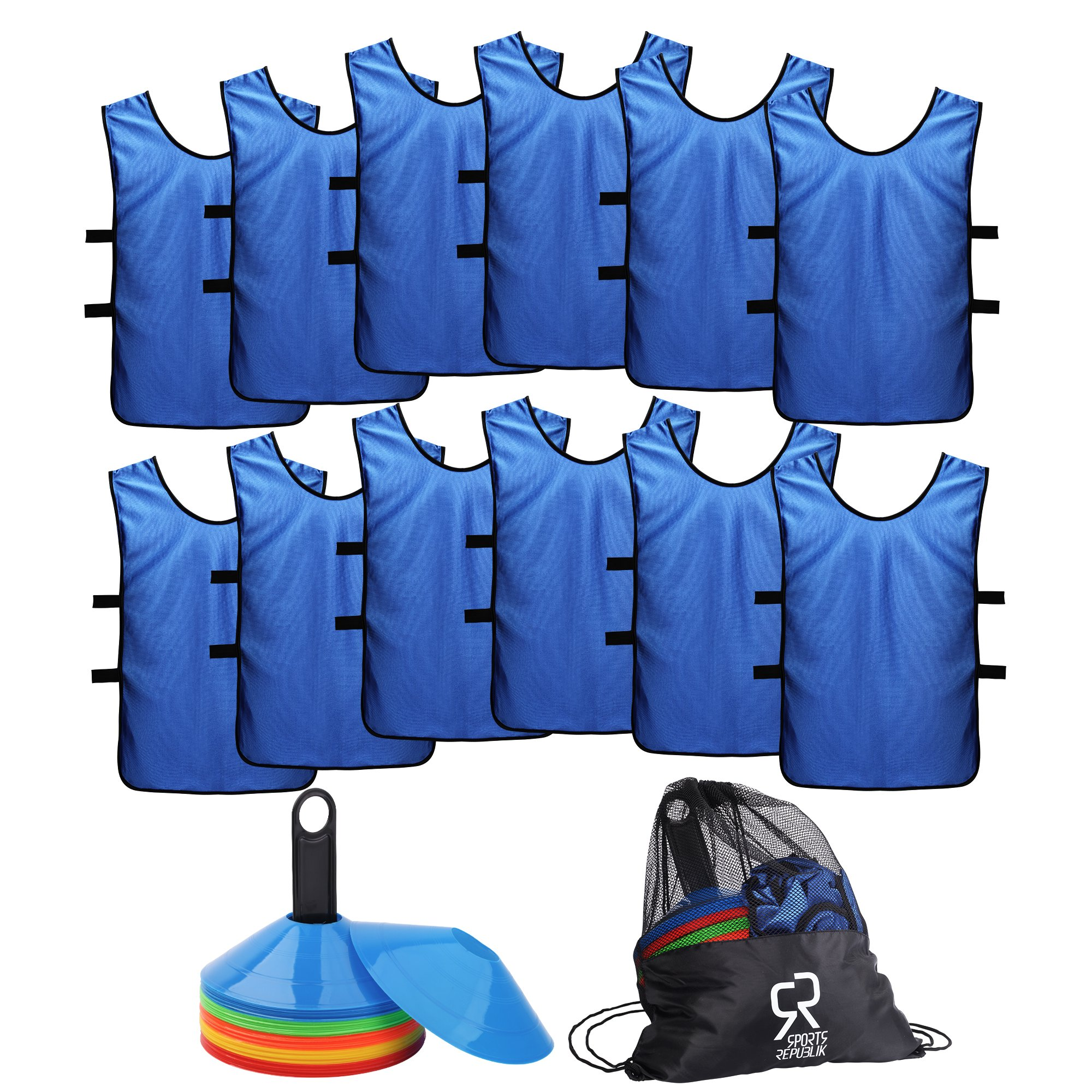 Soccer Cones (Set of 50) and Sports Jerseys Pinnies (12-Pack) - Perfect Disc Cones for Basketball Drills, Complete Soccer Training Equipment by SportsRepublik (Image #1)