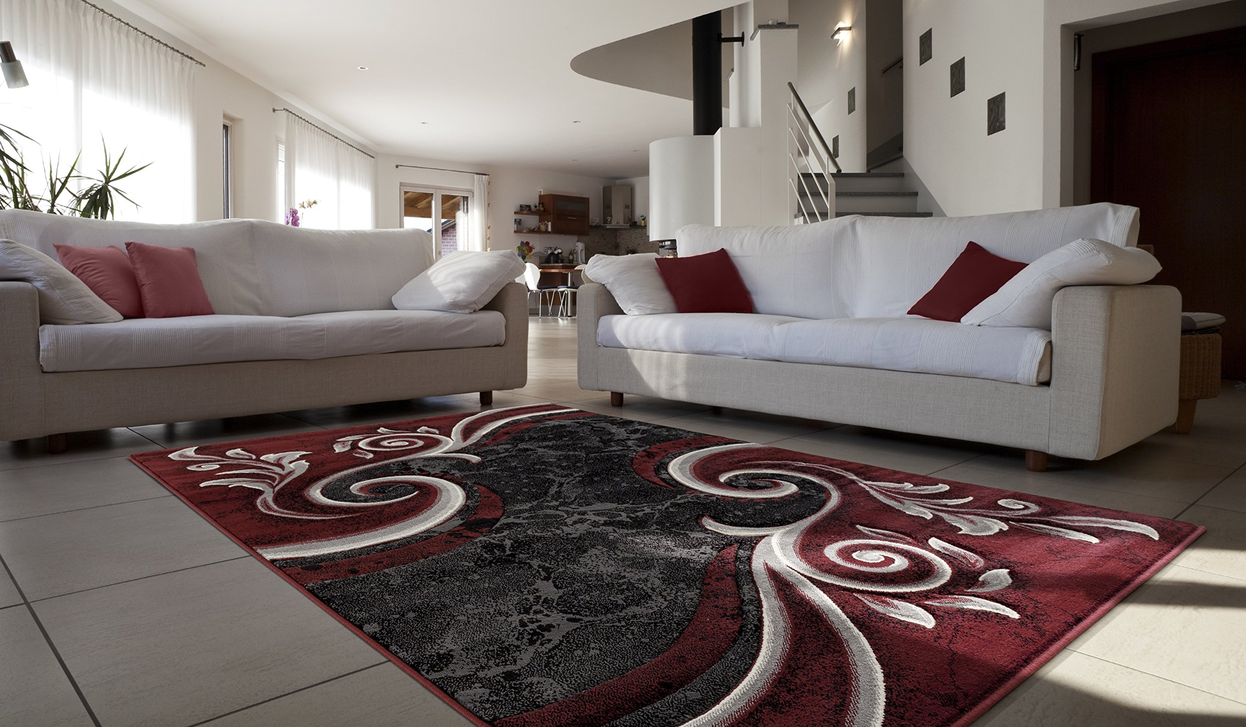 Contemporary Carved Modern Swirl with Floral Design Area Rug Legacy Collection (5' x 7', Burgandy/Black)